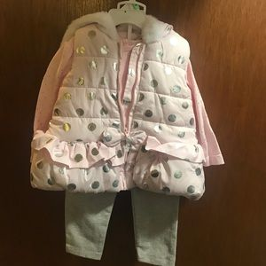 Little Me Pink & Gray Polka Dot Dian Vest Outfit